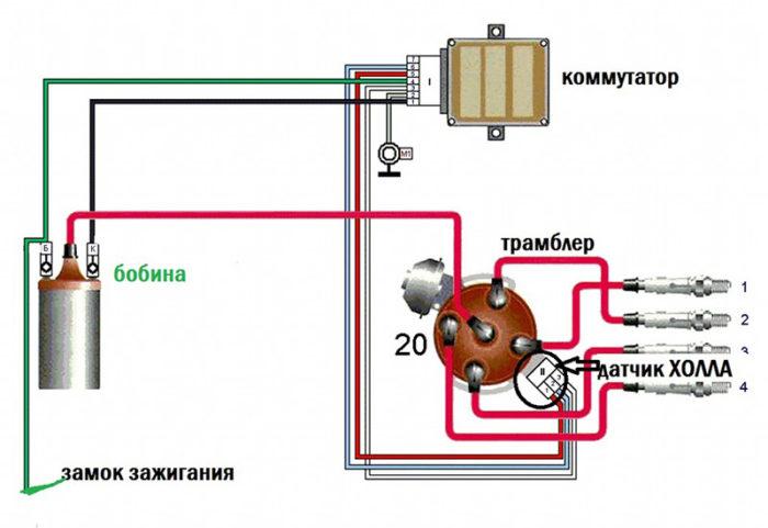 установки зажигания 2105 электронного схема