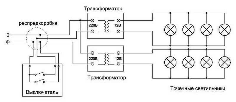 схема подключения освещения бани 12 вольт на анализ