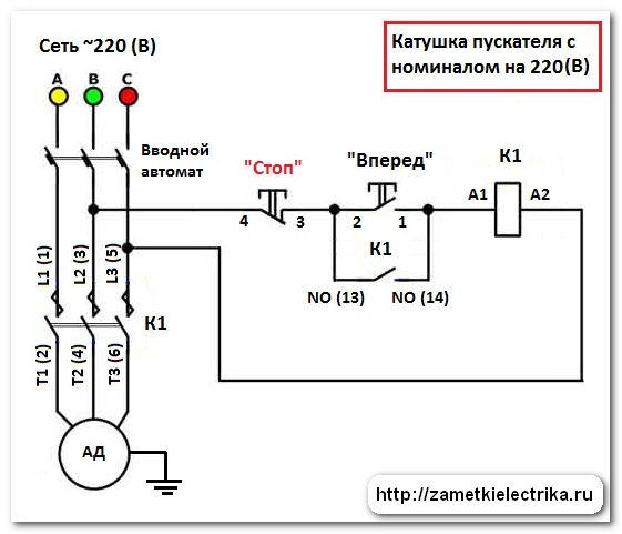 Схема пуска асинхронного двигателя с пускателем