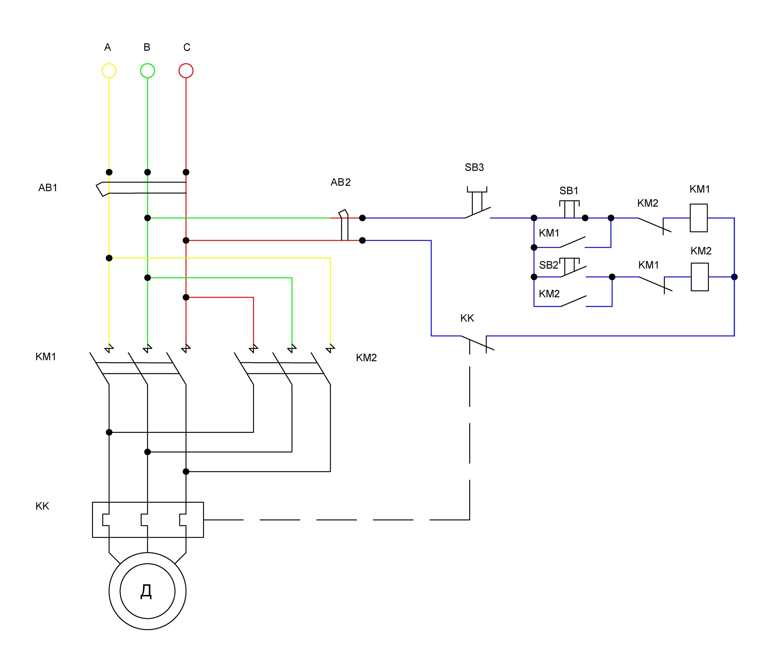 Схема реверсивного магнитного пускателя с описанием