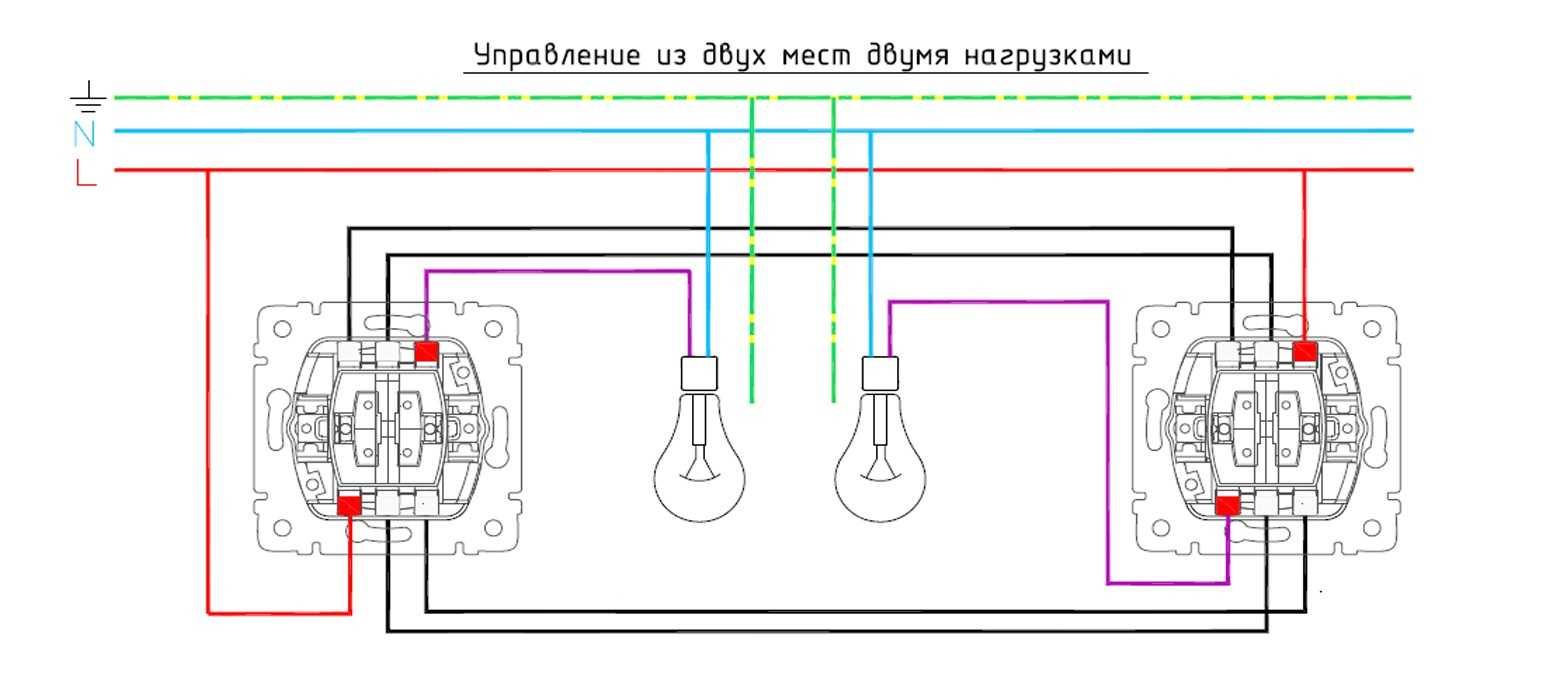 Схемы подключения выключателей glossa