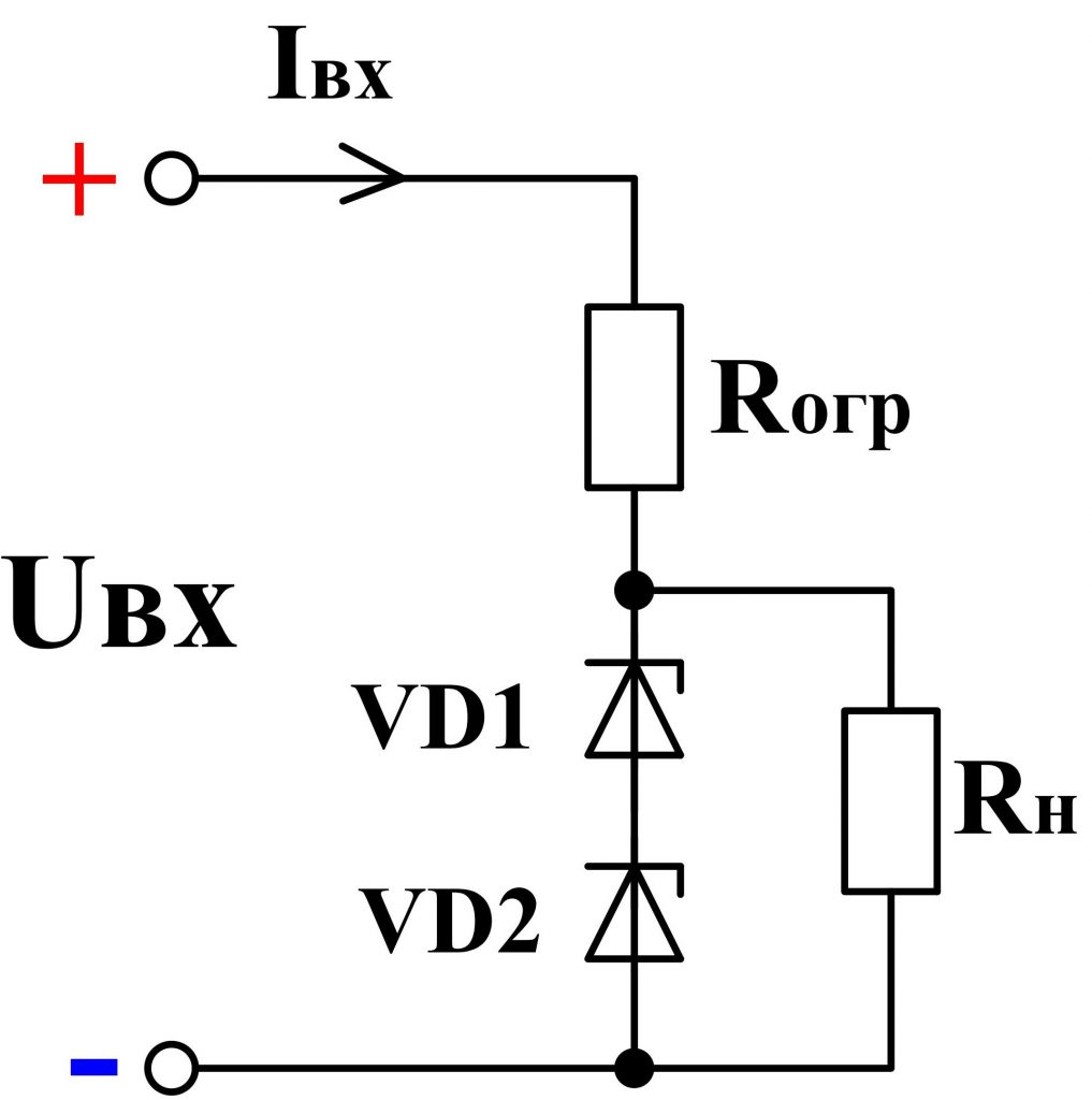 Stabilizers Marking Strips Of A Zener Diode Detailed Circuit Diagram Characteristics For Example If You Need To Get Voltage 10 V Then In The Absence Desired Can Turn On Two Steady State 5 Fig 6